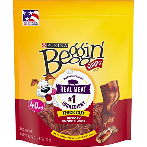 Purina Beggin' Made in USA Facilities Dog Treats, Strips Thick Cut Hickory Smoke Flavor - 40 oz. Pouch