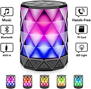 Bluetooth Speakers with Lights, LFS Night Portable Wireless Speaker, Multi-Color Auto-Changing LED Themes, Diamond Shape, Built-in Mic & TF Card, TWS Supported for iPhone, Samsung