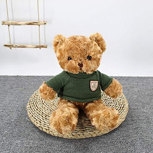 N-A Teddybär Puppe Plüsch Spielzeug Lappen Puppe Weihnachten 70 cm Dunkelgrüner Pullover der braunen Drehblume