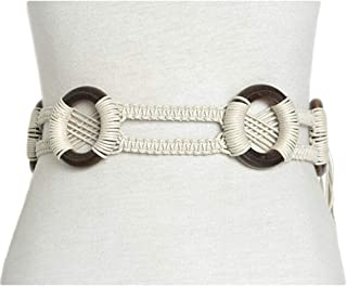 National wind decorative belt New vintage pattern handmade wax rope wood ring braided belt (Color : White, Size : 180CM)
