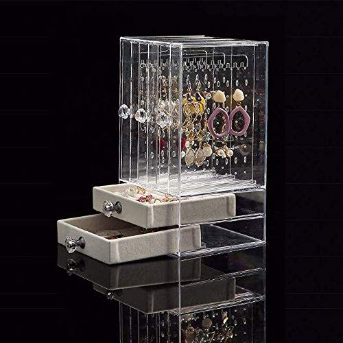 TYWZJ Earring Holder with 2 Drawers, Acrylic Dustproof Clear Earring Display Stand Organiser Holder Earring Studs Storage Necklace Storage Case,24.5 x 13x 13.5cm,3 Panels 222 Holes Jewellery Box