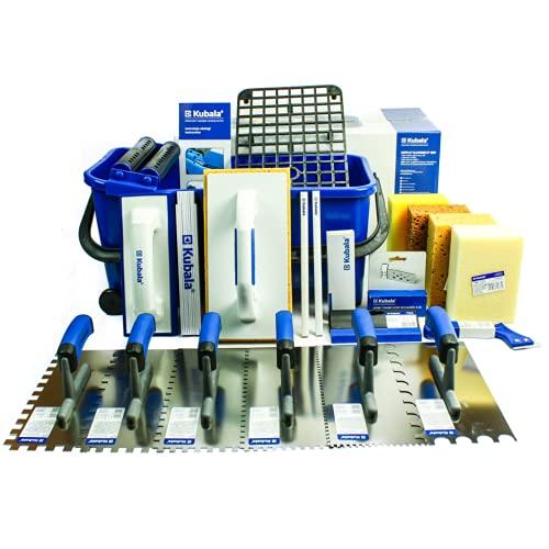 KUBALA Fliesenwaschset 20l Fliesenleger Waschbox 21-teiliges Waschset: Gittereinlage - Doppelrolle - Fliesenwaschbrett - Fugenbrett - Fliesenschwamm - Glättekelle - Magnethalter - Fugenkratzer
