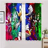 Zmcongz Cortinas de tela sonicas para dormitorio de los niños para ventanas Cortinas de Sonic Sonic The Hedgehog Sega Videojuegos, Sonic Force W42' x L63'(107cm x 160cm) Color: 05.
