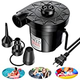 AirExpect Air Pump for Inflatables Mattress, 5000Pa/135W Electric Air Pump with 3 Nozzles for Air Mattress, Airbed, Inflatable Pool Float, Toy, and Raft for Summer Home & Yard, AC 110V-120V, Black