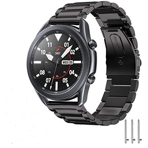 SPGUARD Pulsera Compatible con Correa Samsung Galaxy Watch 3 45mm,Pulsera de Repuesto de Acero Inoxidable de 22mm para Samsung Galaxy Watch3 45mm (Negro)