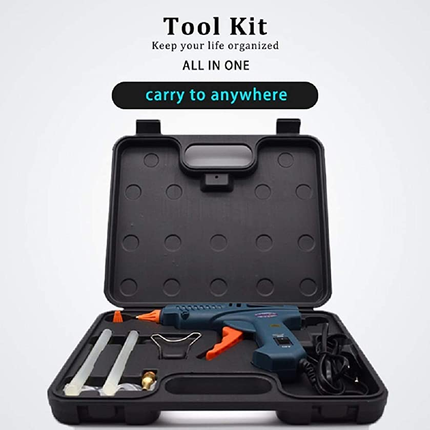 Glue Gun 100W Hot Melt with Tool Kit Include 11mm Glue Sticks Copper Nozzles Nozzle Covers Aluminium Spanner with Power Switch