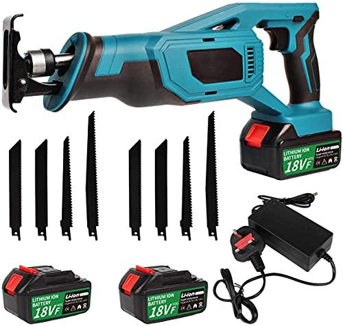 18V Cordless Reciprocating Saw, Sabre Saw with 8 Saw Blades, 2 Li-ion Batteries, UK Plug Charger, Tool Bag