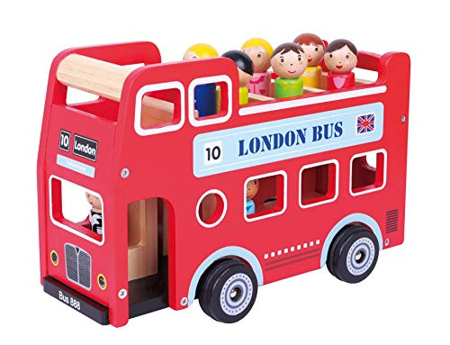 Lelin 11970 Original Double Decker Red Classic London Sight Seeing Bus with Driver & Passenger Figurines