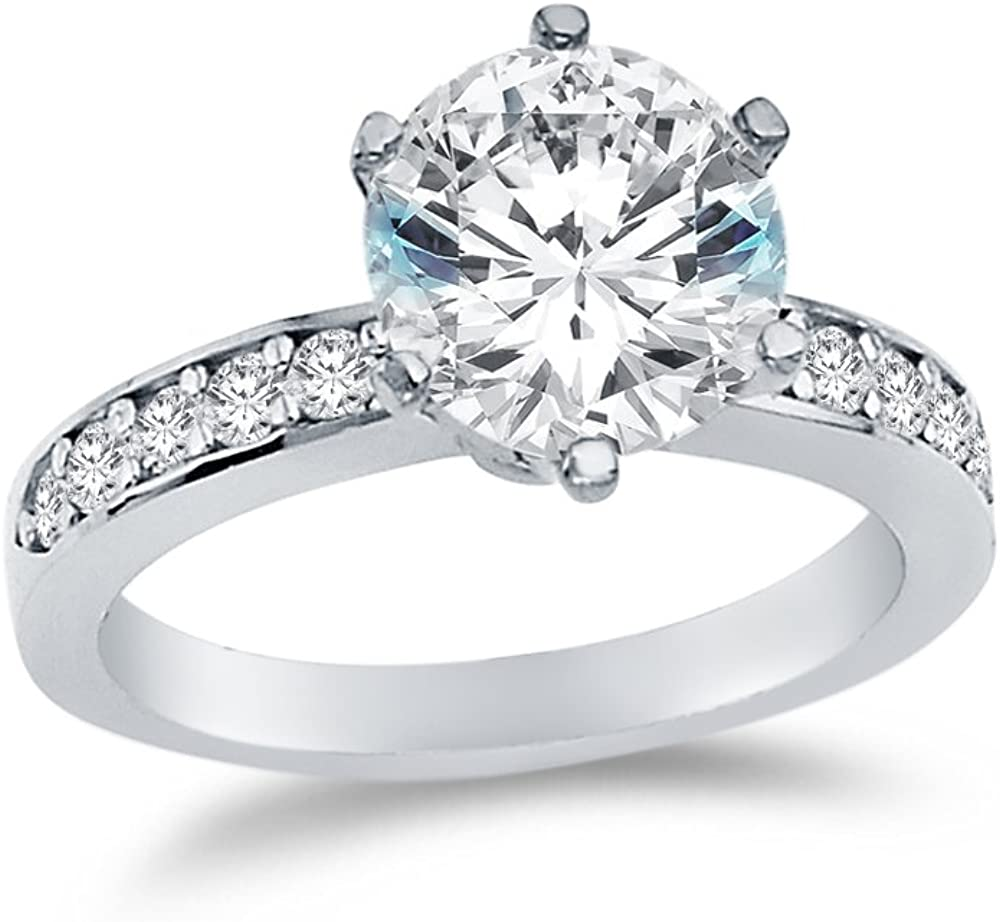 Solid 14k Yellow -OR- White Gold Round Cut Wedding Engagement Ring with Side Stones, CZ Cubic Zirconia (3 ct.)