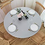 NLMUVW Round Fitted Vinyl Tablecloth with Elastic Edge 100% Waterproof Oil Proof PVC Table Cloth Wipe Clean Table Cover for Indoor and Outdoor, Light Grey, 40