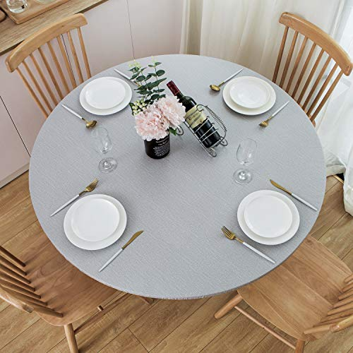 NLMUVW Round Fitted Vinyl Tablecloth with Elastic Edge 100% Waterproof Oil Proof PVC Table Cloth Wipe Clean Table Cover for Indoor and Outdoor, Light Grey, 40' - 44'