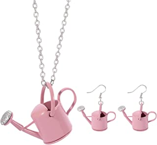 New Creative Unique Kettle Shape Watering Bottle Pendant Necklace Personality Cute Sprinkling Watering Can Drop Earrings f...