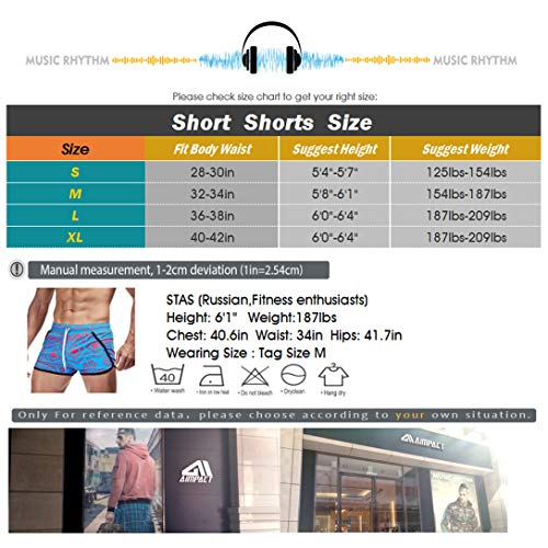 AIMPACT Mens Swim Trunks Quick Dry Running Shorts Vintage Sexy Shorts with Lining - blue - X-Large
