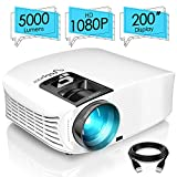ELEPHAS Projector, 5000 Lumens HD Video Projector 200'' Home Cinema LCD Movie Projector