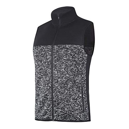 beroy Vest Jacket for Men Full Zip Soft Sweater Fleece Vest Sleeveless Jacket with 2 Zipper Pockets(Heather Black,S)