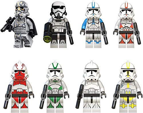 Mdcgok Phy Anime Figure Playset Set of 8 Action Character Model Mini Stormtrooper Figures Stormtrooper Model Decoration Collectible Statue Birthday Gift for Children and Anime Collector 4.5cm-4.5cm