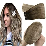 YoungSee Sew in Human Hair Weft Extensions Dark Brown to Blonde with Dark Ash Blonde Hair Weaves Human Hair Extensions Balayage Hand Tied Sew in Hair Extensions 20in 100g