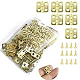 Juland 50 Pieces Mini Hinges Retro Hinges with 200 Pieces Replacement Screws for Wooden Box Jewelry Chest Box Cabinet DIY Accessories (13 x 12mm/0.51 x 0.47inch) – Copper