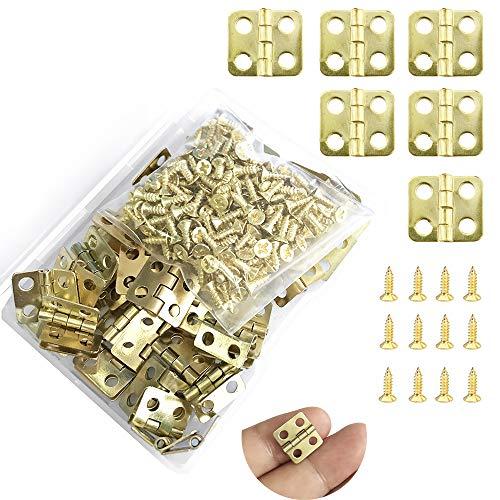 Juland 50 Stücke Mini Scharniere Retro Messingscharniere mit 200 Stück Ersatzschrauben für Holzkiste Schmuck-Box Kabinett DIY Zubehör (13 x 12mm/0.51 x 0.47inch) - Kupfer