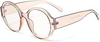 QWERFGHB - Gafas De Sol Gafas De Montura Grande para Mujer, Gafas Anti Rayos Azules, Gafas De Ordenador para Hombre, Redondas, Marrón