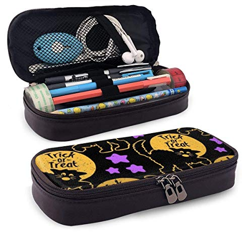 Halloween Black Cat Trick Pattern Large Capacity Stationery Bag Basic Pencil Cases