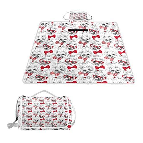 XINGAKA Picknickdecke,Nahtloses Muster mit Bild eines Hundes York Bows Glasses Tie,Outdoor Stranddecke wasserdichte sanddichte tolle Picknick Matte