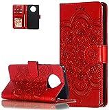 LEMAXELERS Carcasa Nokia 9.1,Funda Nokia 9.1 / Nokia 9 PureView Flor de mandala en relieve Carcasa de Tipo Libro con Ranuras para Tarjetas de Soporte Solapa con Cierre magnético Case,LD Mandala Red