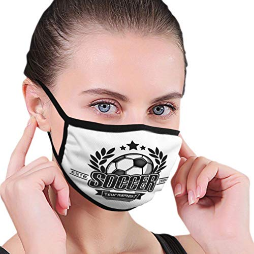 Herbruikbare neushoes, anti-stof warme luchtbeller, half gezicht hoes, voetbal logo sjabloon voetbal embleem patroon vintage St vrouwen mannen mondhoes, verstelbare oorlussen, wasbare mondbeschermer