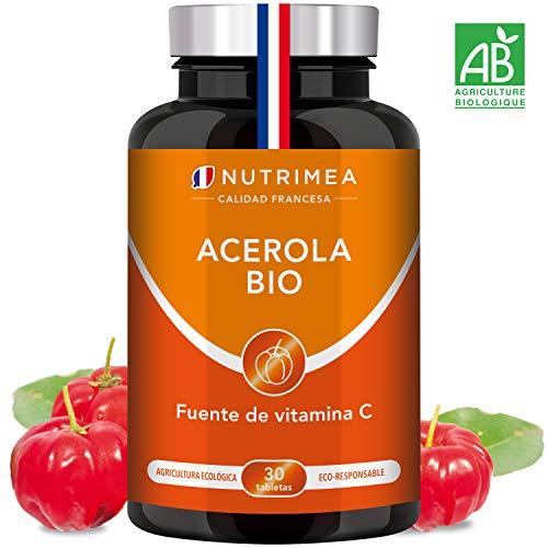 Vitamina C 1000 mg Acerola Orgánica Natural Resfriados Gripes Refuerza Defensas, Antioxidante, Reduce Fatiga, Forma Colágeno, Para Veganos, Sin Gluten, Sin Lactosa, Sin Alérgenos, Fabricado Francia