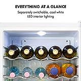 Klarstein Beersafe XL - Getränkekühlschrank, 60 Liter, C, 5 Kühlstufen: 3-10 °C, 42 dB, 2 flexible Metallböden, LED-Licht, Kühlschrank für Flaschen, Mini Bar, Edelstahl/weiß - 9
