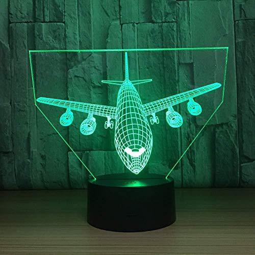 Lámpara de escritorio 3D con luz de noche Boeing para decoración del hogar, regalos de cumpleaños para niñas y niños con carga USB, cambio de color colorido