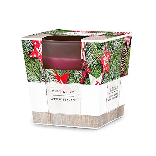 Pajoma - Candela profumata 'Adventszauber' in vetro satinato, 124 g, durata 25 ore, con elegante confezione regalo natalizia