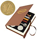 Samyo Wax Seal Stamp Kit Retro Creative Sealing Wax Stamp Maker Gift Box Set Brass Color Head with Vintage Classic Alphabet Initial Letter (M)