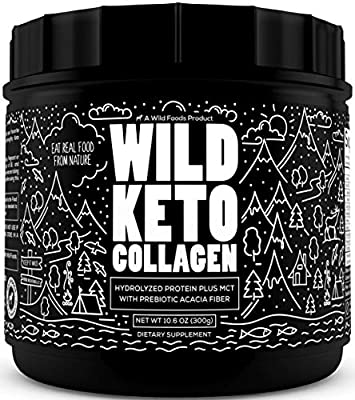 Wild Keto Collagen Powder - Grass Fed Hydrolyzed Collagen Peptides for Healthy Hair Skin Nails and Joints - Flavorless Keto Powder & Non GMO Paleo Protein Powder with Essential Amino Acids 10.6 oz