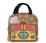 Hippie Vintage Mini Van Peace Sign Bag Lunch Bag Bolsa térmica Mujer Bolsa de la compra Bolsa isotérmica Resistente al agua Soft Liner Contenedor para picnic, viajes, barco, playa, pesca, trabajo
