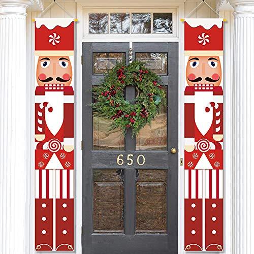 MATTTIME Nussknacker-Soldat Banner Veranda Schild Weihnachten Cane Candy Front Door Hanging Banner Sweetest Day Xmas Holiday Indoor Outdoor Dekoration