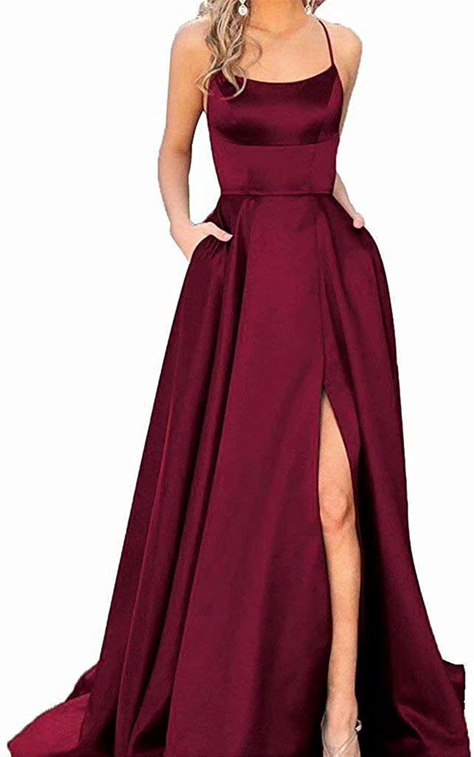 Alicebridal Women's Spaghetti Straps Prom Dresses Long 2019 Satin Backless Formal Evening Gowns with Pockets
