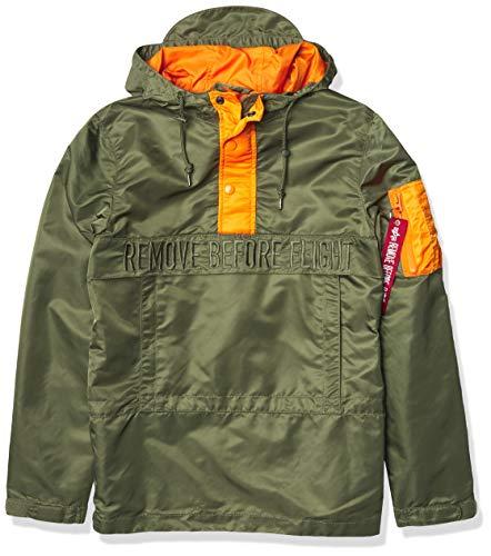 Alpha Industries Men's Seafarer Anorak Utility Jacket, Sage/Emergency Orange, XS