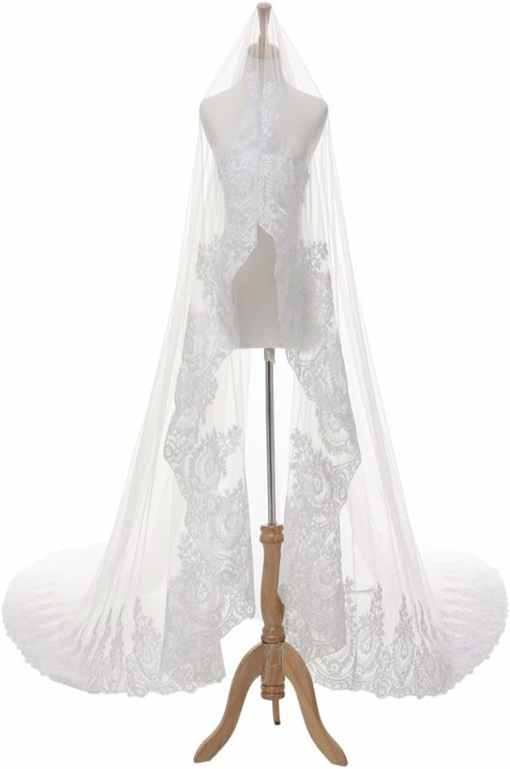 QY Bride 2m Lace Cathedral Wedding Veils Bridal Headpiece