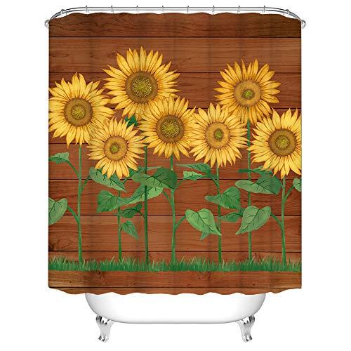 Sonnenblumen-Duschvorhang für Badezimmer, schöner Blumen-Badevorhang, gelbe Blume, braunes Holz, Vintage-Vorhang für Bauernhaus, Stoff, Heimdekoration mit Haken, 183 x 183 cm, Grün