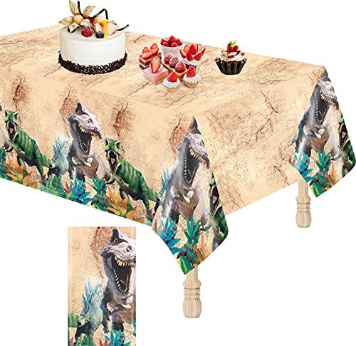 Dino Tischdecke, Tischdecke aus Kunststoff PVC Rechteckig Tischdecke Dinosaurier Party Zubehör für Kinder Jungen Dino Thema Geburtstagsfeier, Ultra dünn, wiederverwendbar, Wasserdicht Fleckenbeständig