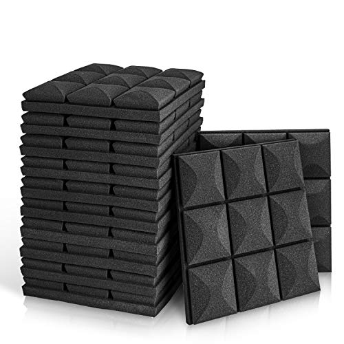 "12 Pack - Acoustic Foam Panels, 2"" X 12"" X 12"" Mushroom Studio Wedge Tiles, Sound Panels wedges Soundproof Sound Insulation Absorbing, 9 Block Mushroom Design"