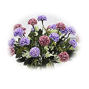 Superper 1Pc Artificial Silk Flower Faux Plastic Greenery Shrubs Arrangement Indoors Outdoors Home Wedding Party Furniture Decoration Gift Purple Blue