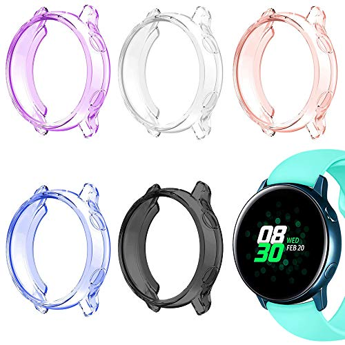 AFUNTA - Set di 5 cover per orologio Galaxy Active da 40 mm, custodia protettiva per Galaxy Watch Active Smartwatch – viola/rosa/bianco/nero/blu