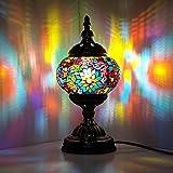 Lampada turca marocchina fatta a mano in vetro mosaico, tavolo da comodino, lampada notturna per soggiorno, camera da letto, tavolino da caffè (verde)