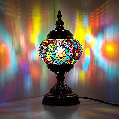 Lámpara marroquí turca, hecha a mano, con mosaico, para mesa de cristal, escritorio, mesita de noche, salón, dormitorio, mesa baja (verde)