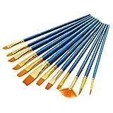 P12cheng Juego de 12 pinceles de dibujo para artista, nailon, pelo de acuarela, pintura al óleo, suministro, color azul