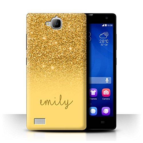 Personalisiert Hülle Für Huawei Honor 3C Persönlich Glitter Effekt Gold Design Transparent Ultra Dünn Klar Hart Schutz Handyhülle Hülle