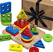 Jaques of London Stack & Learn Geometric Shapes Puzzle for kids Wooden Stacking Toys – Perfect toddler toys recommended Wooden Puzzle toys for 1 2 3 year olds