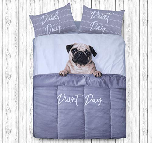 Sleepdown Daytime Pug Animal Print 3D Design Duvet Cover Quilt Bedding Set with Pillowcases (Single)